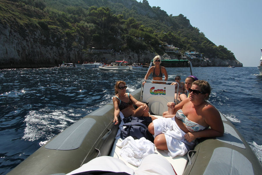 Charted dinghy in Capri