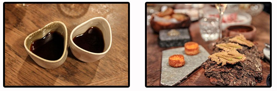 So cute coffee cups and what a great idea to use bark as a plate.